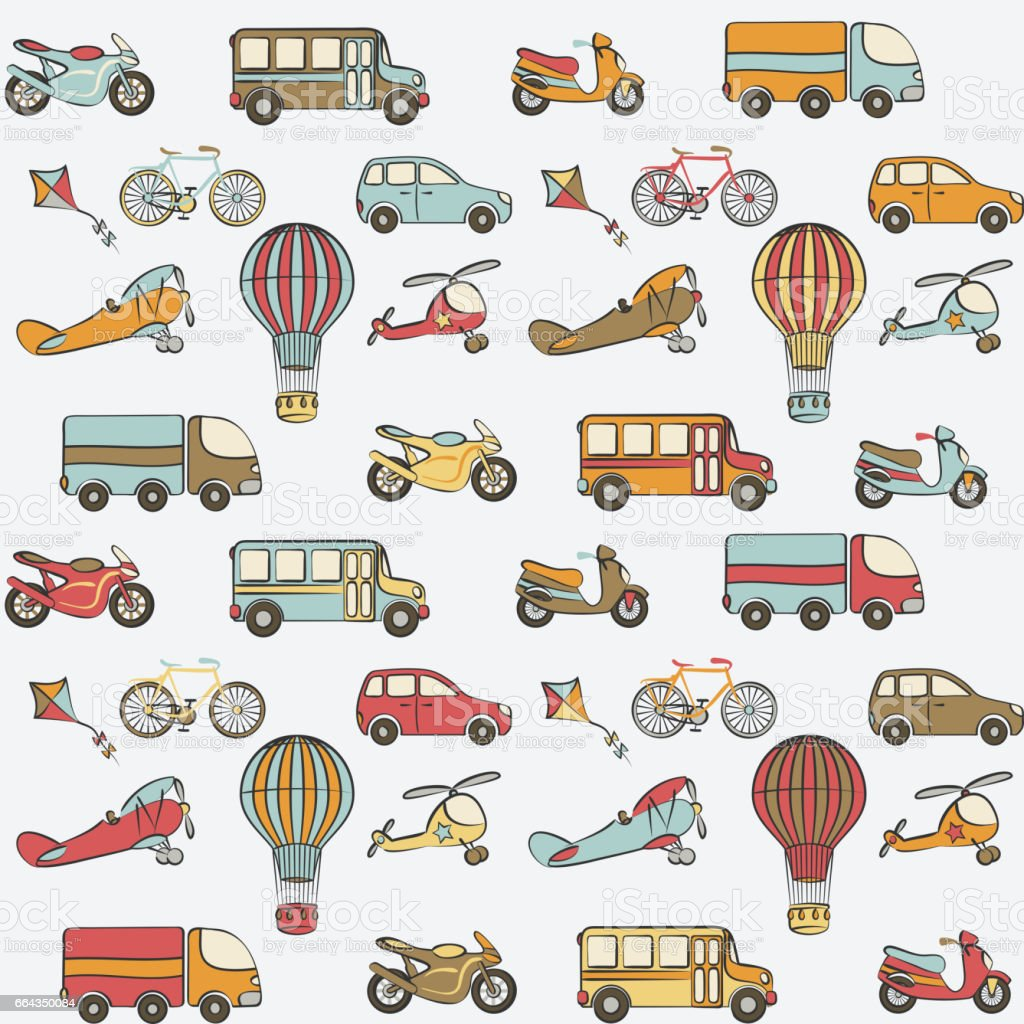 Transport Kids Seamless Pattern Stock Illustration - Download Image