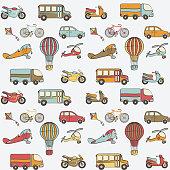 transport kids seamless pattern. vector illustration - eps 8