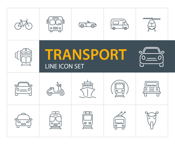Transport line icon set vector art illustration