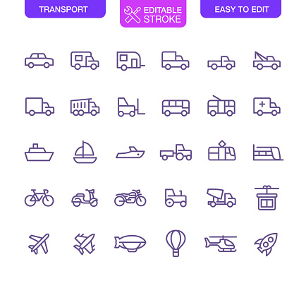 Transport Line Icons Set Editable Stroke