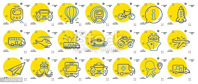 istock Transport line icons. Set of Taxi, Helicopter and Train. Vector 1324340183