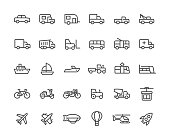 Transport line icons set. Vector illustration.