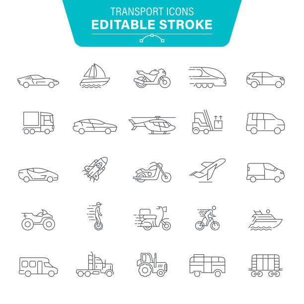 Transport Line Icons Airplane, Transportation, Bicycle, Bus, Truck, Editable Stroke Icon Set quadbike stock illustrations