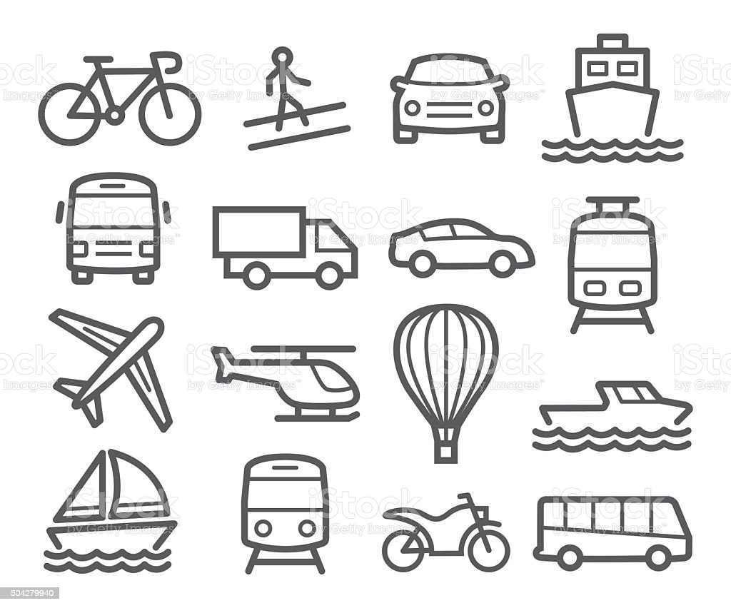 Transport Line Icons vector art illustration
