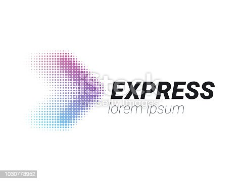 istock Transport logistic arrow  for courier or fast delivery shipping company or transportation service concept. Vector isolated halftone forward arrow icon for express delivery or logistics and post mail design 1030773952