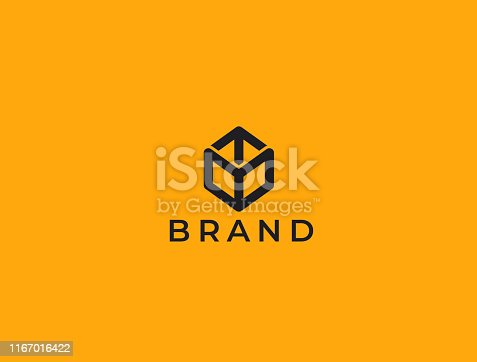 Transport Logistic or Delivery Logo Template. Hexagon Box + Arrow. Express moving icon for courier delivery or transportation and shipping service. Delivery service logotype.