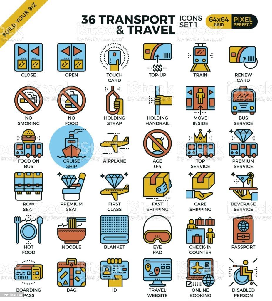 Logística de transporte y recorrido del esquema los iconos - ilustración de arte vectorial