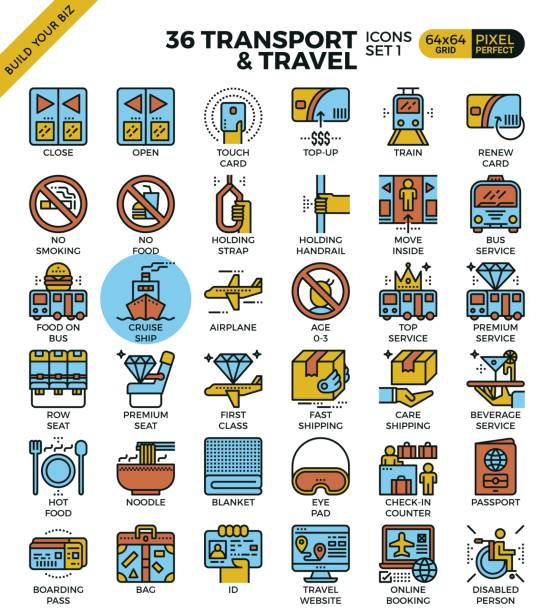 Transportlogistik & Travel Gliederung Symbole – Vektorgrafik