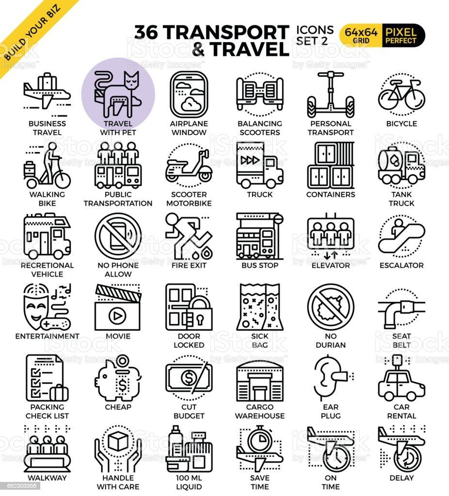 Transport logistic & Travel outline icons vector art illustration