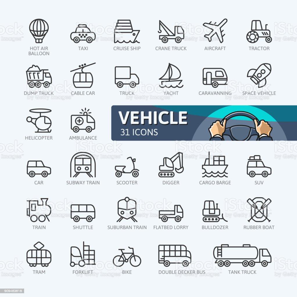 Transporte - colección de iconos de contorno - ilustración de arte vectorial