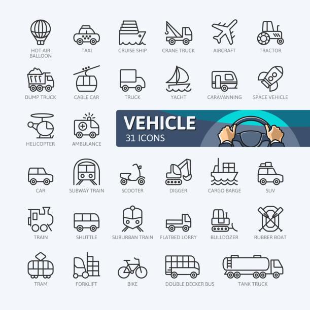 トランスポート - 概要アイコン集 - 細線のアイコン点のイラスト素材/クリップアート素材/マンガ素材/アイコン素材