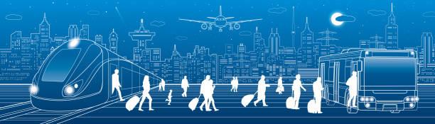 illustrations, cliparts, dessins animés et icônes de panorama des transports. passagers monter dans le bus, laissant le train. infrastructure de transport de voyage. l'avion est sur la piste. ville de nuit sur fond, dessin vectoriel - terminal aéroportuaire
