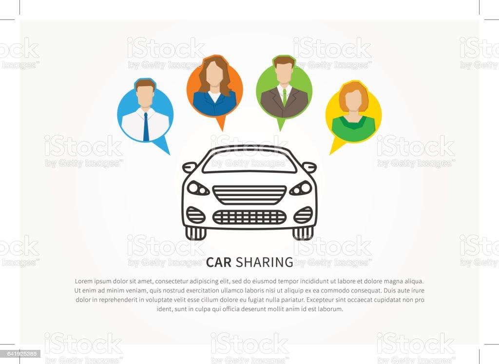 Concepto creativo de alquiler servicio de transporte - ilustración de arte vectorial