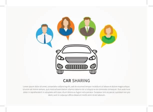 Transport renting service creative concept vector art illustration