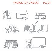 Transport road taxi van truck bus trolley bus graphical line art style icon set. World of lineart collection.