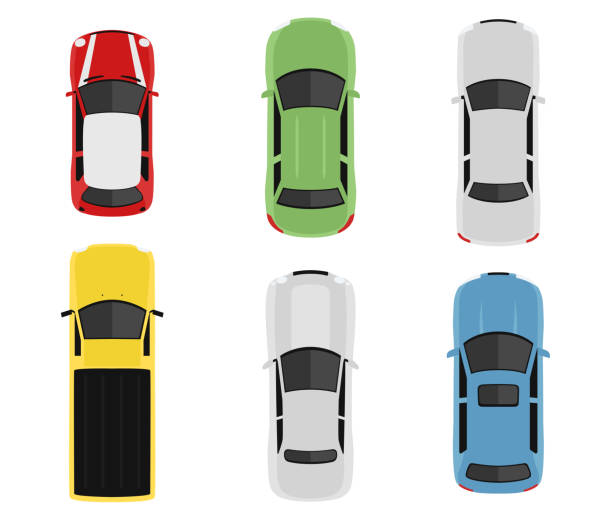 ilustrações de stock, clip art, desenhos animados e ícones de transport set from above, top view. cute cartoon cars with shadows. modern urban civilian vehicles collection. simple icon or logo. realistic design. flat style vector illustration. - car view