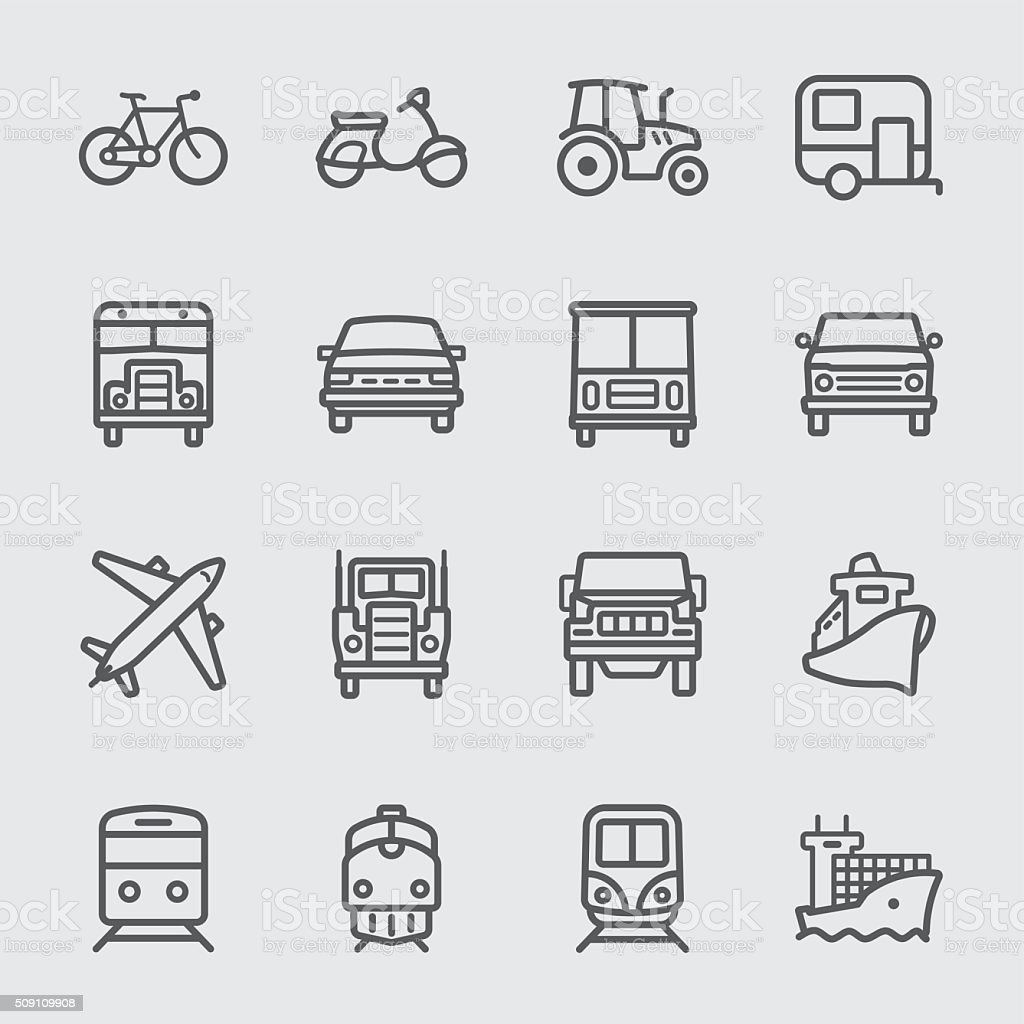 Transport set line icons vector art illustration