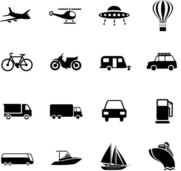 transport set vector art illustration