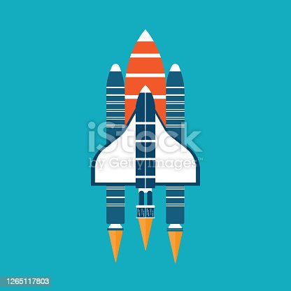 istock Transport space shuttle vector - Science icon 1265117803