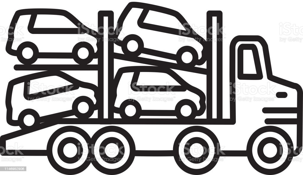 Transport truck car carrier Transportation themed icon in outline line art style