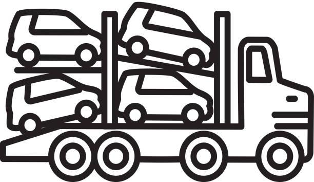 Transport truck car carrier Transportation themed icon in outline line art style vector art illustration