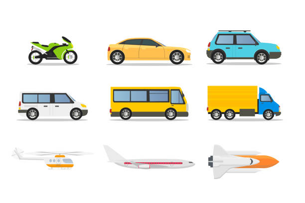 Transport types flat vector illustrations set Transport types flat vector illustrations set. Cartoon vehicles isolated design elements. Passenger car, motorcycle, city bus, helicopter, plane, rocket. Urban public, private cars, aircrafts hatchback stock illustrations