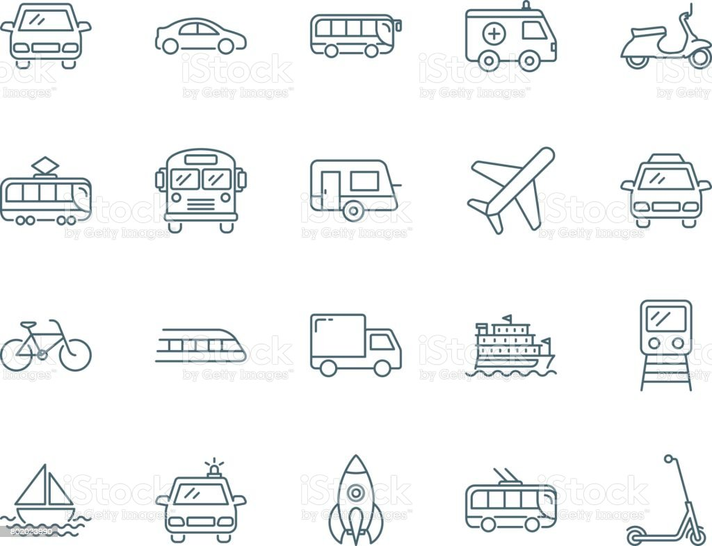 Transport vector icons vector art illustration