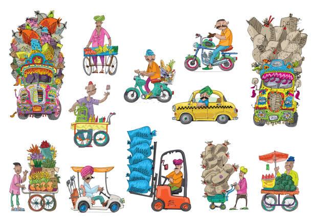 ilustraciones, imágenes clip art, dibujos animados e iconos de stock de transporte - comida india
