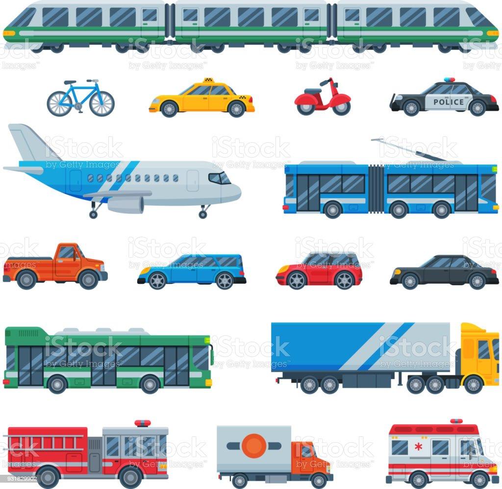 avion de transport vecteur transportable autobus ou train et v hicule ou v lo pour le transport. Black Bedroom Furniture Sets. Home Design Ideas