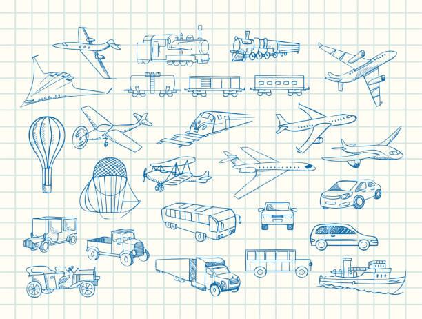 transport vector sketch in copybook transport hand drawn vector sketch in copybook airport drawings stock illustrations