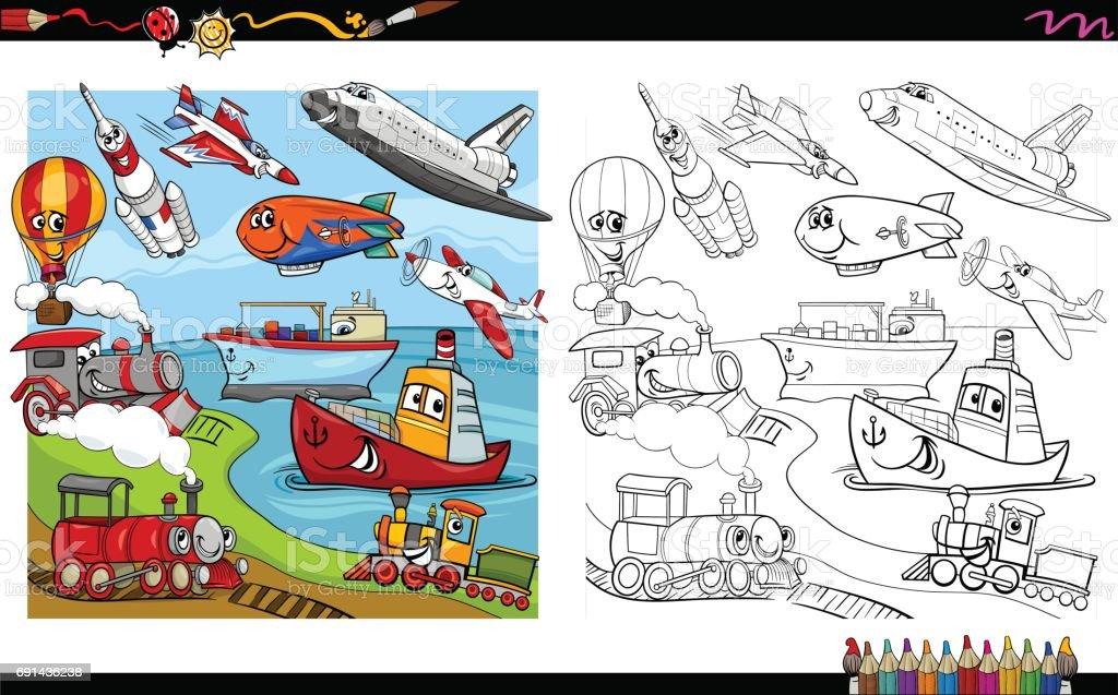 Ilustración de Los Vehículos De Transporte Para Colorear Página y ...