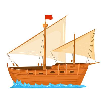 Transport vintage, sailing boat flood, ship sailing, sea cruise, isolated on white, design, flat style vector illustration.