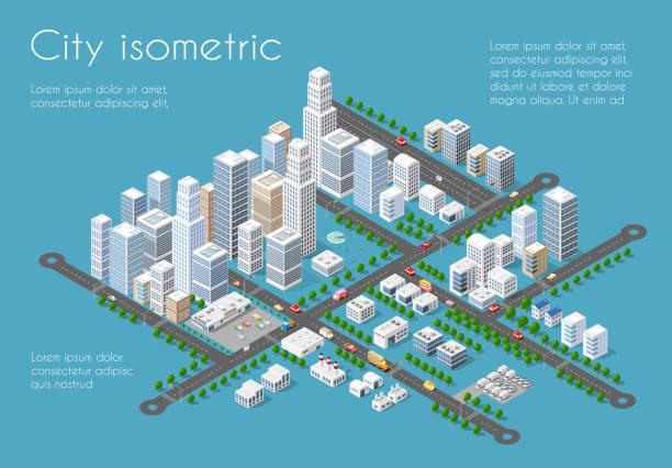 transportation 3d city - アイソメトリック点のイラスト素材/クリップアート素材/マンガ素材/アイコン素材