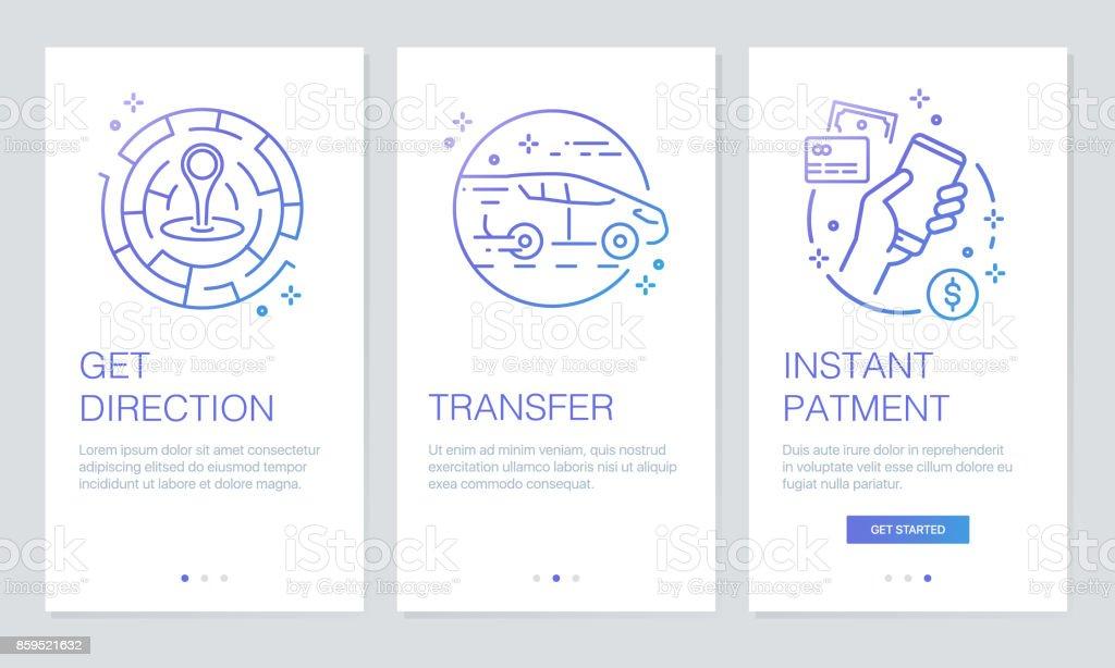 Transportation and navigation concept onboarding app screens. Modern and simplified vector illustration walkthrough screens template for mobile apps. vector art illustration