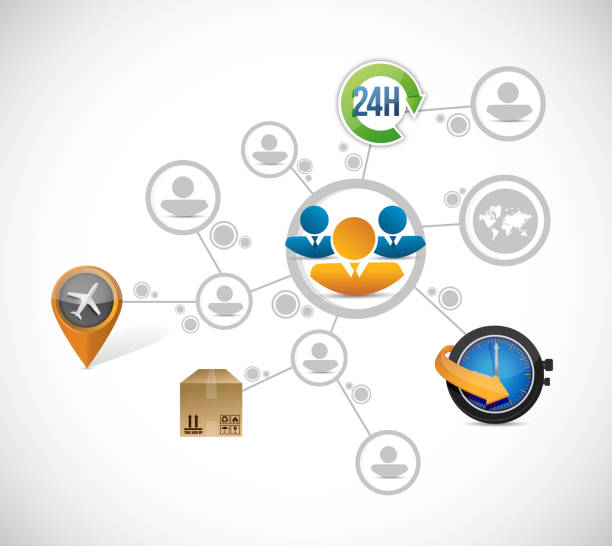 Transportation and shipping network Transportation and shipping network illustration design over a white background tiempo stock illustrations