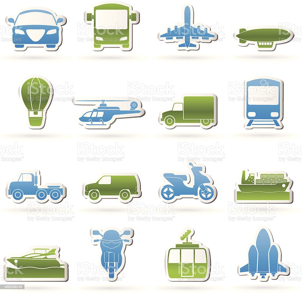 Transportation and travel icons royalty-free stock vector art