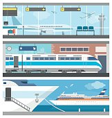 Transportation and travel banner set: airport with airplanes, a train at the railway station and a cruise ship sailing