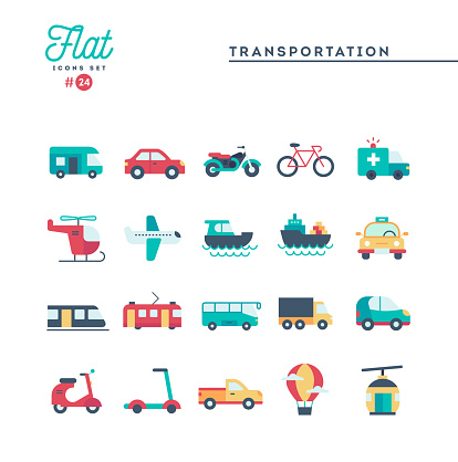 Transportation and vehicles, flat icons set
