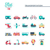 Transportation and vehicles, flat icons set