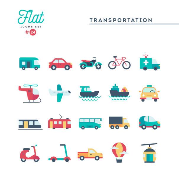 transport i pojazdy, płaskie ikony zestaw - przewóz stock illustrations