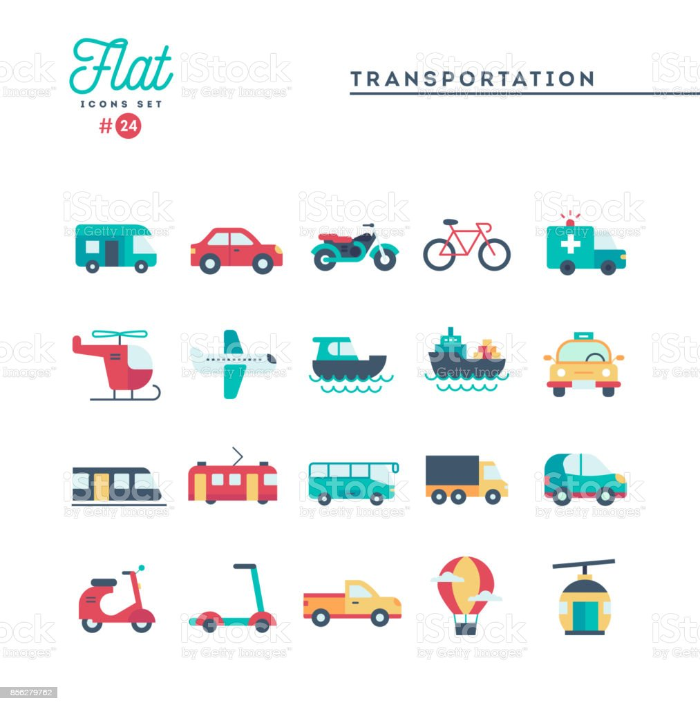 Transportation and vehicles, flat icons set - illustrazione arte vettoriale