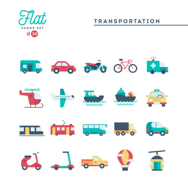 illustrazioni stock, clip art, cartoni animati e icone di tendenza di transportation and vehicles, flat icons set - automotive