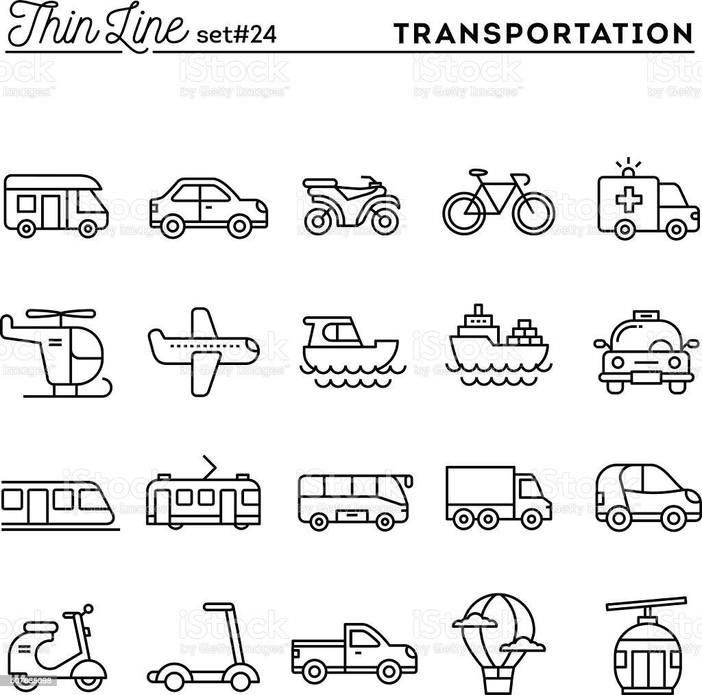 운송 및 자동차, 여윔 꺾은선형 아이콘 세트 - 로열티 프리 거리 벡터 아트