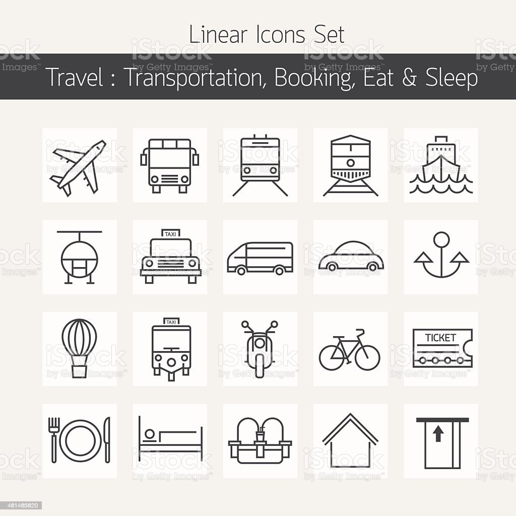 Transportation Booking  Line Icons Set vector art illustration
