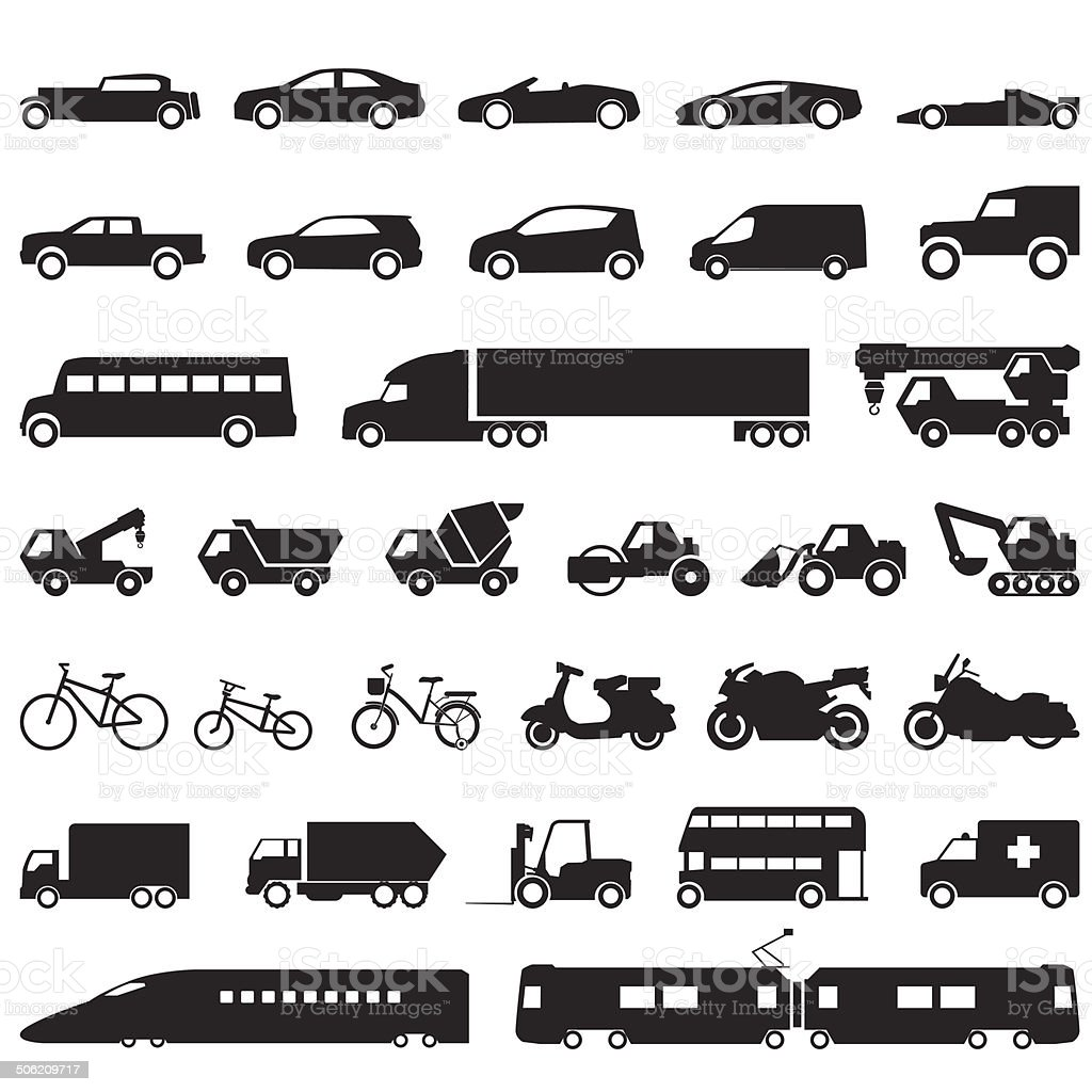 Transportation car icons set