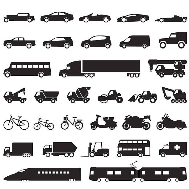 transportation car icons set - caravan stock illustrations