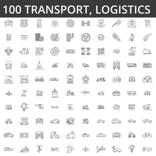 Transportation, car, logistics, vehicle, public transport, bus, tram, ship, shipping, auto service, truck line icons, signs. Illustration vector concept. Editable strokes vector art illustration