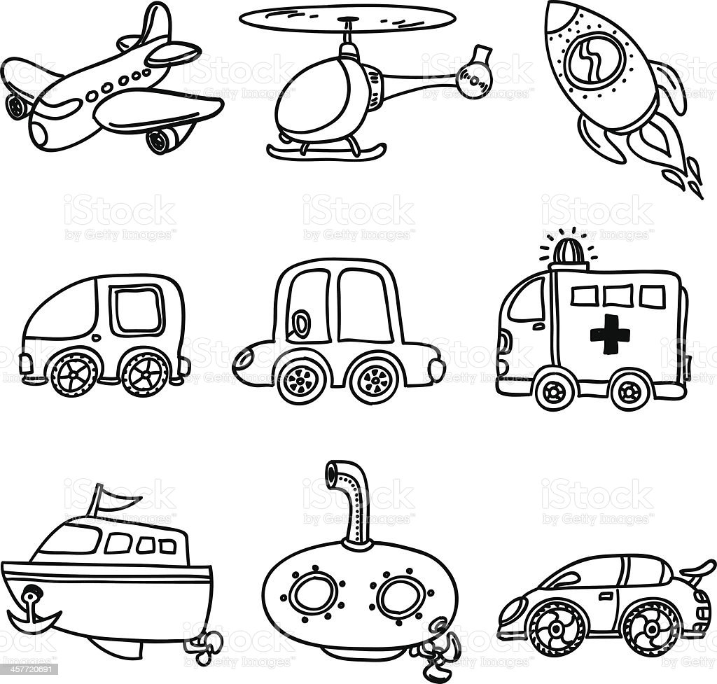 transportation collection in black and white stock vector art