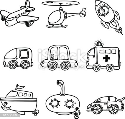 Transportation Collection In Black And White stock vector