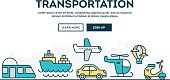 Transportation, colorful concept header, flat design thin line style